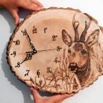 Vypaľovanie do dreva – Dominika Poláková, hodiny, vypaľované obrazy